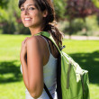Beautiful student in campus — Stock Photo #13576195