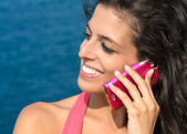Woman calling roaming on vacations — Stock Photo