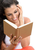 Charming woman reading book isolated — Stock Photo