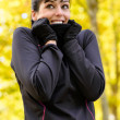 Sport in autumn cold weather — Stock Photo