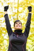Sport woman celebrating victory — Stock Photo
