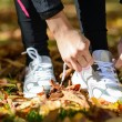 Tying laces for running — Stock Photo #14939957