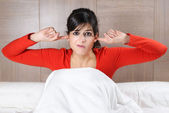 Woman and night noises — Stock Photo