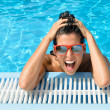 Happy crazy young woman expression in tropical resort vacation — ストック写真