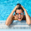 Happy crazy young woman expression in tropical resort vacation — Stock Photo