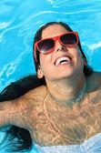 Woman satisfaction on summer swimming pool — Stock Photo