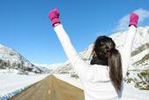 Happy woman runner win on mountain road — Stock Photo