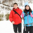 Couple winter mountain hiking — Stock Photo