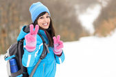 Happy winter hiker — Stock Photo