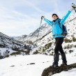 Happy woman winter mountain hiker — Stock Photo #21383395