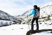 Woman winter mountain hiking — Stock Photo