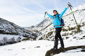 Happy woman winter mountain hiker — Stock Photo