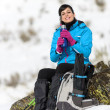 Woman hiker resting drink — Stock Photo
