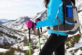 Hiking on winter mountain — Stock Photo