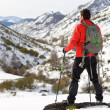 Man hiking on winter trip — Stock Photo