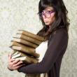 Bored student girl and books — Stock Photo