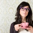 Woman thinking with cofffe cup — Foto Stock