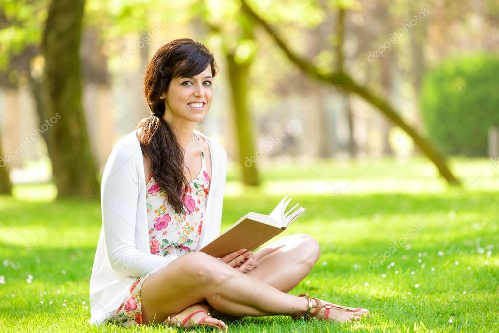 Woman Reading Book Happy Woman Reading And