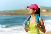 Fitnes woman after exercising — Stock Photo