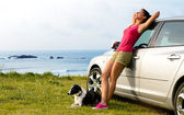 Happy woman and dog travel — Stock Photo