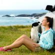 Happy woman and dog on travel — Stock Photo