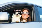 Mujer divertida con perro en coche — Foto de Stock