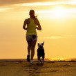 Woman and dog running on sunset — Stock Photo