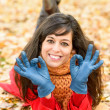 Positive woman approving on autumn  — Stock Photo