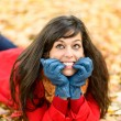 Happy nervous girl on autumn thinking — Stock Photo