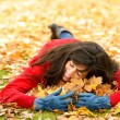 Woman loving autumn season — Stock Photo