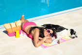 Woman and dog summer relax — Stock Photo