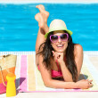 Fun summer vacation at pool — Stock Photo