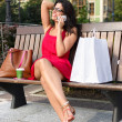 Woman with phone shopping break  — Foto de Stock
