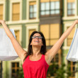 Fashion happy woman shopping in Spain — Stock Photo