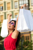 Fashion woman shopping fun in Spain — Stock Photo
