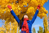 Freedom and happiness in autumn — Stock Photo