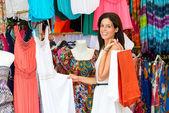 Woman shopping in street summer market — Stock Photo