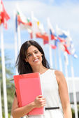 International scholarship female student — Stock Photo