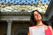 Happy student in european college — Stock Photo