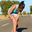 Running knee injury and pain — Stock Photo