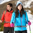 Couple hiking in winter mountain — Stock Photo