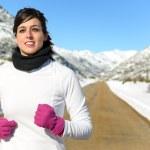 Running sport on winter — Stock Photo