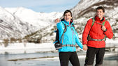 Winter hiking couple — Foto Stock