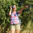 Woman taking photo in nature — Stock Photo