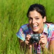 Nature female photographer with retro camera — Stock Photo