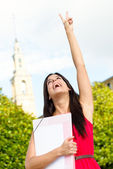 Successful happy female student — Stock Photo