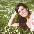 Brunette happy woman relaxing lying on grass — Stock Photo #43960957