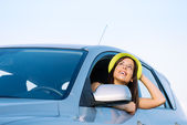 Woman on car travel vacation — Stock Photo