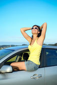 Happy woman on car summer travel — Stock Photo