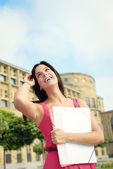 Female college student in campus — Stock Photo
